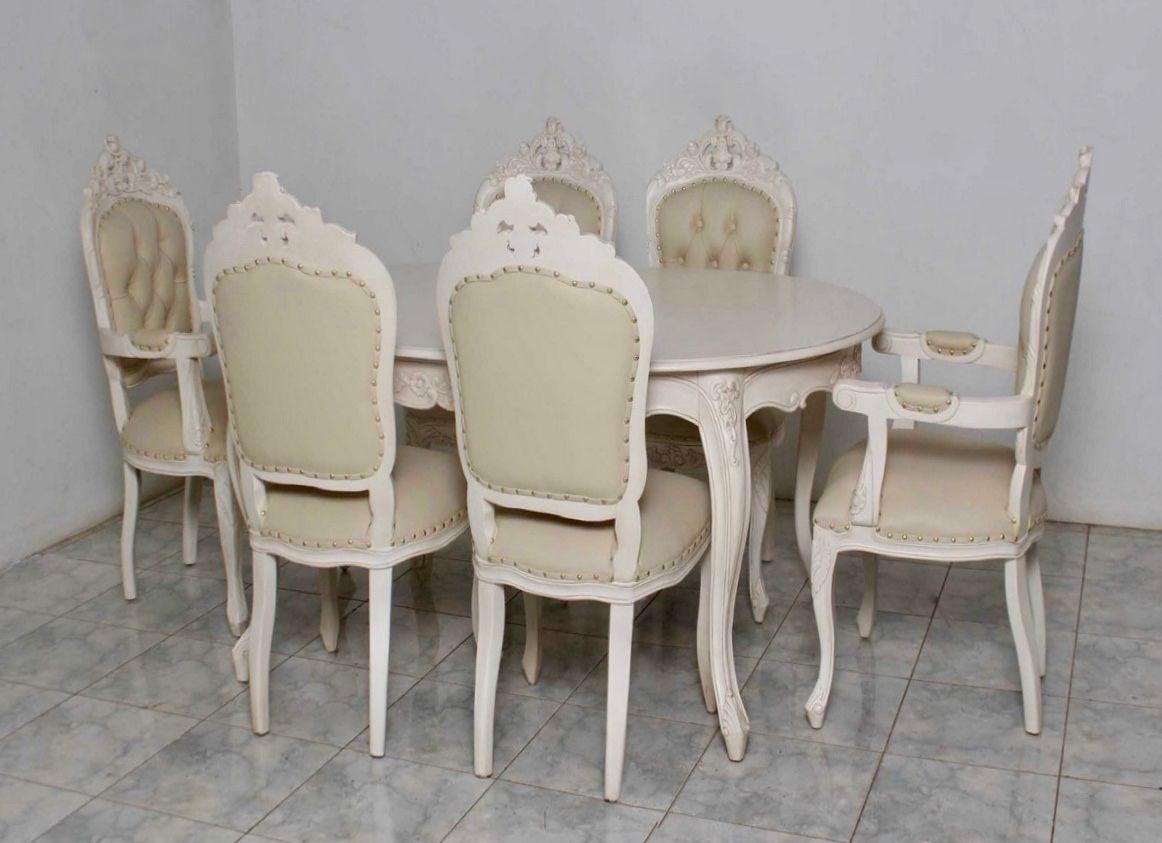 barock esszimmer garnitur artes oval alt wei goldende. Black Bedroom Furniture Sets. Home Design Ideas