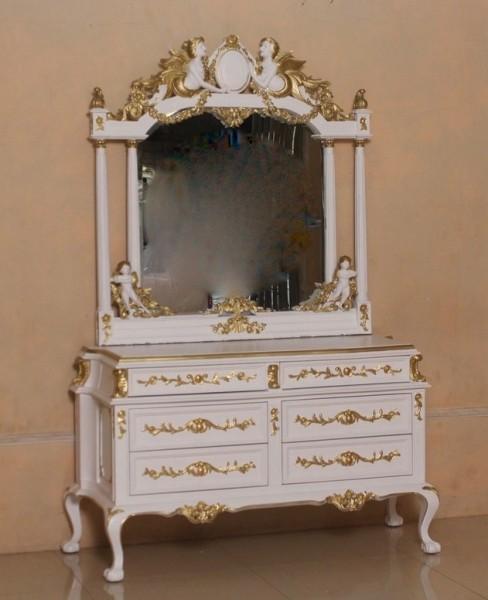 Barock Schminktisch Angel mit Engel und Spiegel, Repro-Antik-Design, Mahagoni massiv holz, gold weiß, aufwendige Holzschnitzerei, ausgefallen