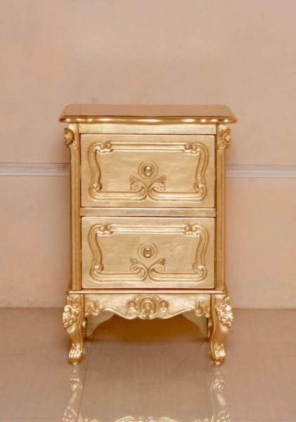 Barock Nachttisch, Repro-Antik-Design, Mahagoni Massiv Holz ausgefallen mit blattgold exclusive.