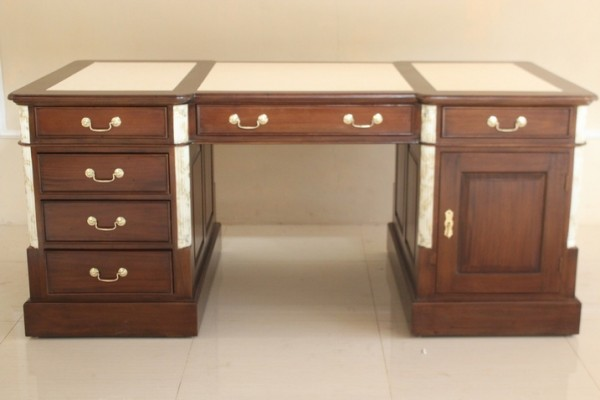 Barock Tisch Schreibtisch, Repro-Antik-Design, Marmor schwarz Mahagoni massiv Holz