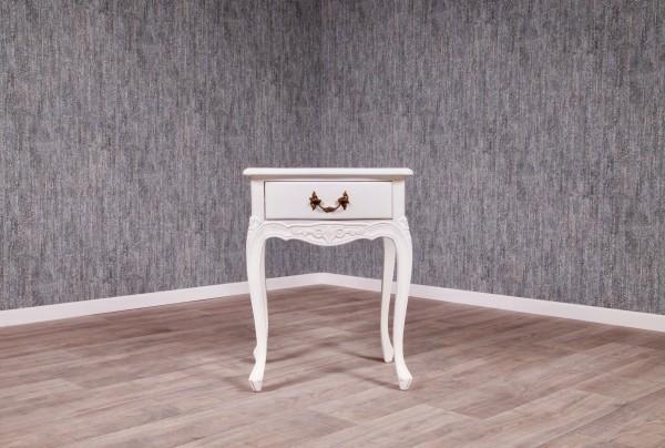 Barock Nachttisch, Repro-Antik-Design, Mahagoni Massiv Holz ausgefallen exclusive, weiß lackiert