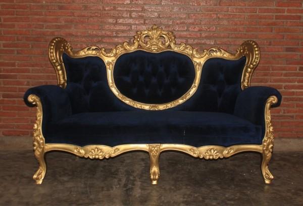 Barock Sofa 2-Sitzer, Repro-Antik-Design, Mahagoni massiv holz  aufwendige Holzschnitzerei blattgold, blauer bezug