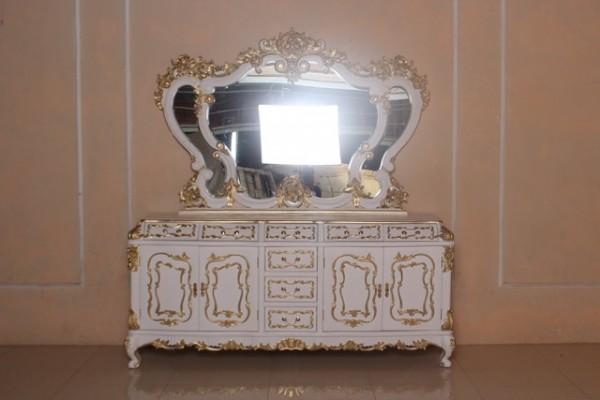 Barock Kommode Rose, Repro-Antik-Design, Mahagoni Massiv Holz ausgefallen, gold weiß mit Spiegel