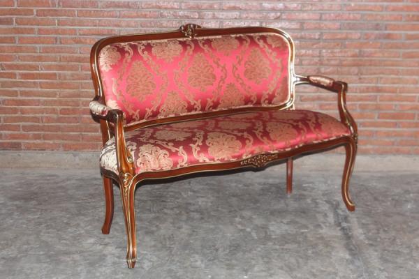 Barock Sofa Sofa 2-Sitzer, Repro-Antik-Design, Mahagoni massiv holz, braun rot  gold, aufwendige Holzschnitzerei