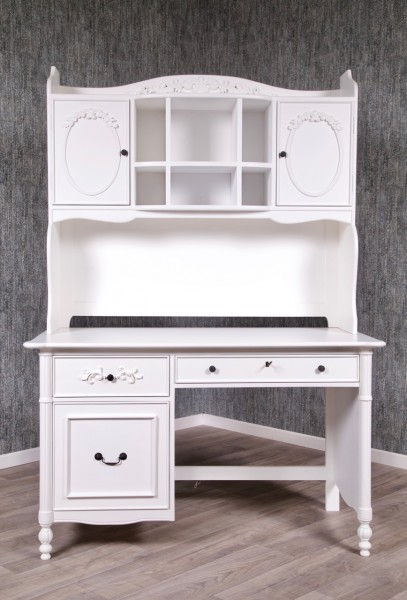 Barock Schreibtisch, Repro-Antik-Design, Mahagoni Massiv Holz lackiert in weiß