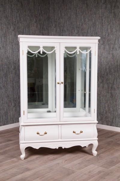 Barock Vitrine Buffet mit Glas und Schublade, Repro-Antik-Design, Mahagoni massiv Holz, weiß gold Goldgriffe Holzschnitzerei
