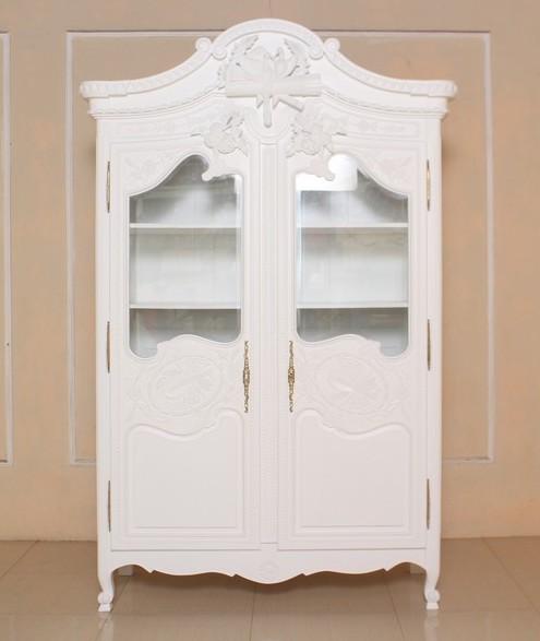Barock Schrank Kleiderschrank 2-türig ohne Spiegel, Repro-Antik-Design, Mahagoni massiv holz, gold Beschläge, weiß lackiert,ausgefallen, mit aufwendiger Holz schnitzerei.