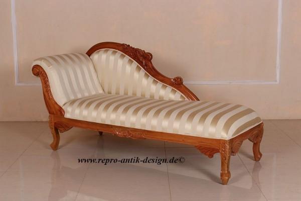 Barock Sofa Recamiere, Repro-Antik-Design, Mahagoni massiv Holz aufwendige Holzschnitzerei braun mit Stoffbezug gestreift