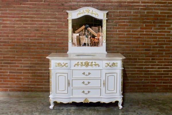 badezimmermobel weis antik, barock waschtisch vanity antik-weiß mit goldenem dekor und spiegel, Design ideen