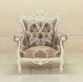 Barock Sofa Sessel Couch Polstermöbel, Repro-Antik-Design, Mahagoni Massiv Holz, elfenbein mit gold Dekor, aufwendige Holzschnitzerei, ausgefallen,