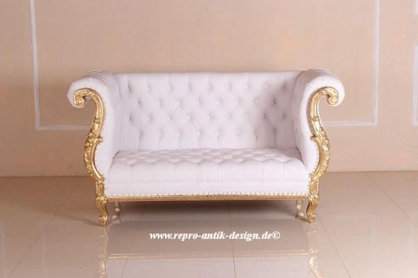 Barock Sofa Eliana 2-Sitzer in weiß belegt mit Blattgold