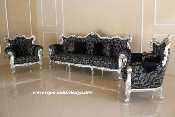 Barock Sofa Garnitur, Repro-Antik-Design, Mahagoni massiv Holz, Blattsilber mit Ornamenten