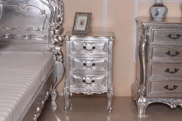 Barock Nachttisch, Repro-Antik-Design, Mahagoni Massiv Holz ausgefallen silber exclusive.
