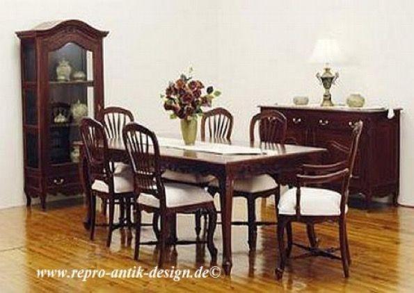 Barock Esszimmer Stuhl Tisch Garnitur Landhaus Polstermöbel, Repro-Antik-Design,Mahagoni massiv Holz, Kolonial braun, aufwendige Holzschnitzerei