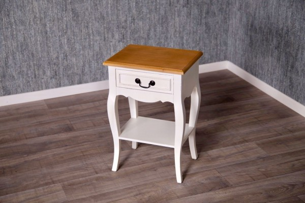 Barock Nachttisch, Repro-Antik-Design, Mahagoni Massiv Holz ausgefallen exclusive.   weiß lackiert