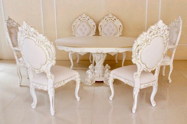 Barock Esszimmer Stühle Tisch Garnitur Polstermöbel, Repro-Antik-Design, , Mahagoni massiv Holz, weiß gold Goldnieten , aufwendige Holzschnitzerei