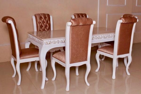 Barock Esszimmer Stühle Tisch Garnitur Polstermöbel, Repro-Antik-Design, , Mahagoni massiv Holz, weiß gold Kupfer , aufwendige Holzschnitzerei