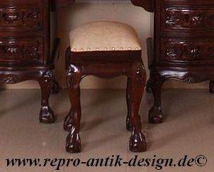 Barock Schminkhocker Stuhl , Repro-Antik-Design, Mahagoni massiv holz, braun Goldnieten, aufwendige Holzschnitzerei, ausgefallen