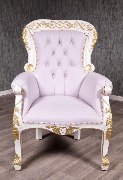 Barock Sessel Grandfather Polstermöbel, Repro-Antik-Design, Mahagoni massiv Holz, Kunstleder weiß, gold Dekor Goldnieten aufwendige Holzschnitzerei