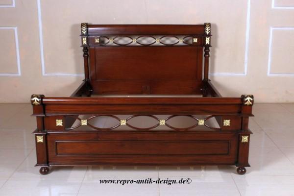 Barock Bett, Repro-Antik-Design, Mahagoni massiv holz, braun gold