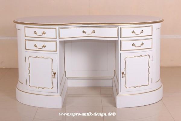 Barock Schreibtisch, Repro-Antik-Design, Mahagoni Massiv Holz, weiß mit gold Dekor, Goldgriffe, Gold Beschläge