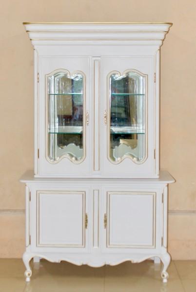 Barock Vitrine, 4-türig mit Glas 4 Schubladen, lackiert in weiß mit gold Dekor,Repro-Antik-Design, Mahagoni massiv holz , aufwendige Holzschnitzerei