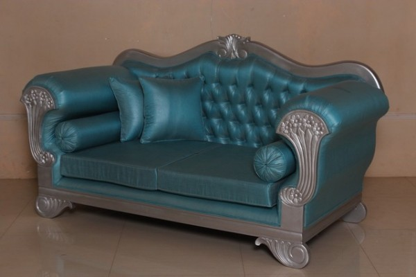 Barock Sofa 2-Sitzer, Repro-Antik-Design, Mahagoni massiv holz  aufwendige Holzschnitzerei silber,türkis Kunstleder