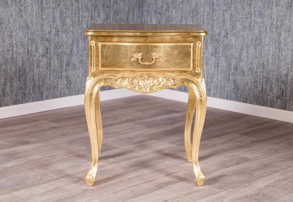 Barock Nachttisch, Repro-Antik-Design, Mahagoni Massiv Holz ausgefallen mit Blattgold belegt exclusive.