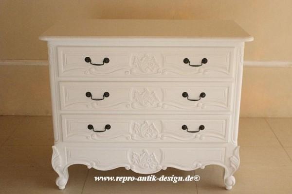 Barock Kommode, Repro-Antik-Design, Mahagoni Massiv Holz weiß
