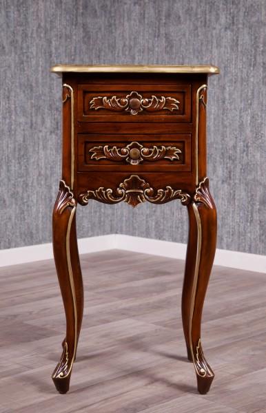 Barock Nachttisch, Repro-Antik-Design, Mahagoni Massiv Holz ausgefallen exclusive.  gold braun Dekor