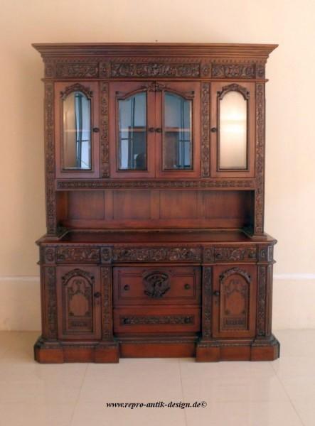 Barock Schrank Vitrine Wohnzimmerschrank Vitrine Anrichte , Repro Antik  Design, Mahagoni Massiv Holz