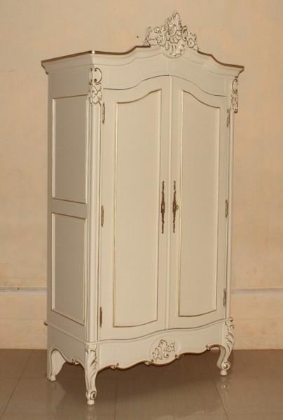 Barock Schrank Kleiderschrank 2-türig ohne Spiegel, Repro-Antik-Design, Mahagoni massiv holz, gold Beschläge,weiß gold  lackiert,ausgefallen, mit aufwendiger Holz schnitzerei.