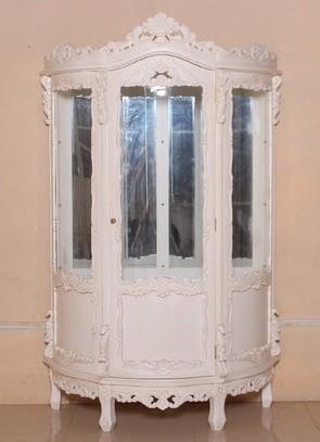 Barock Vitrine, 3-türig,Glas, lackiert in Antik-weiß ,Repro-Antik-Design, Mahagoni massiv holz , aufwendige Holzschnitzerei