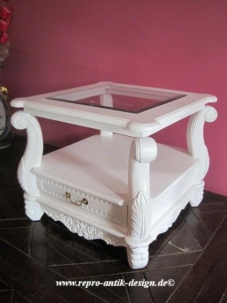 Barock Tisch Couchtisch mit Glasplatte und Schublade Goldgriff, Repro-Antik-Design, Mahagoni massiv Holz weiß aufwendige Holzschnitzerei