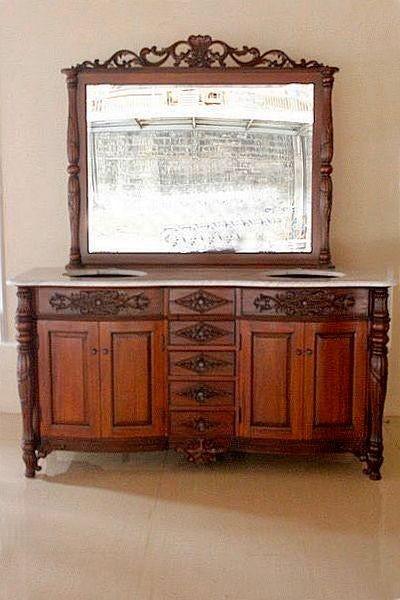 Barock Waschtisch mit Marmorplatte und Spiegel , Repro-Antik-Design Mahagoni massiv Holz ausgefallen exclusive