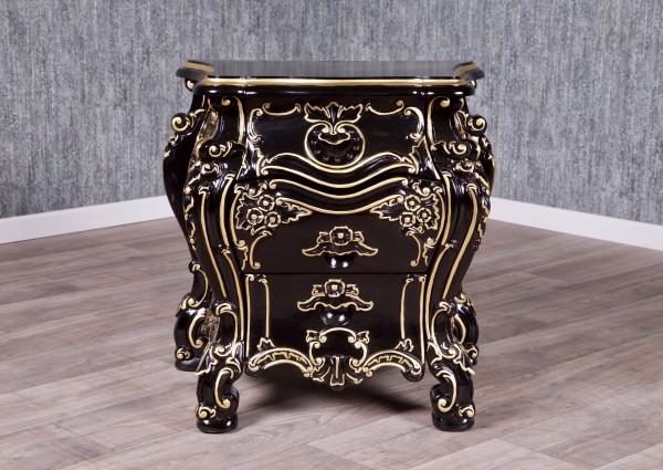 Barock Nachttisch, Repro-Antik-Design, Mahagoni Massiv Holz ausgefallen schwarz gold exclusive.