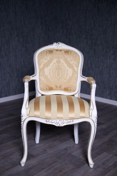 Barock Stuhl RCR 036 mit Armlehnen Antik-weiß lackiert mit Stoffbezug