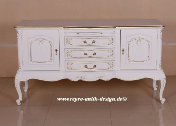 Barock Kommode French Reeves In Weiss Mit Leichtem Gold Dekor