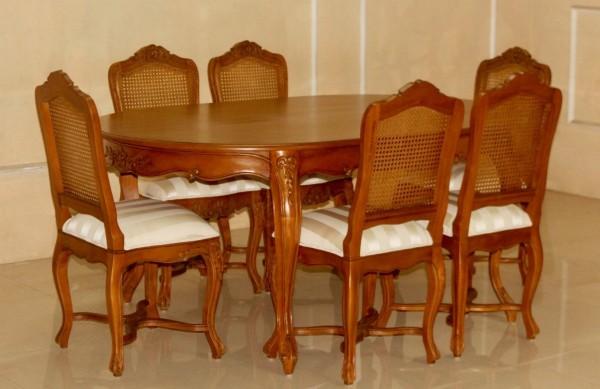 Barock Esszimmer Stühle Tisch Garnitur Polstermöbel, Repro-Antik-Design, , Mahagoni massiv Holz, aufwendige Holzschnitzerei