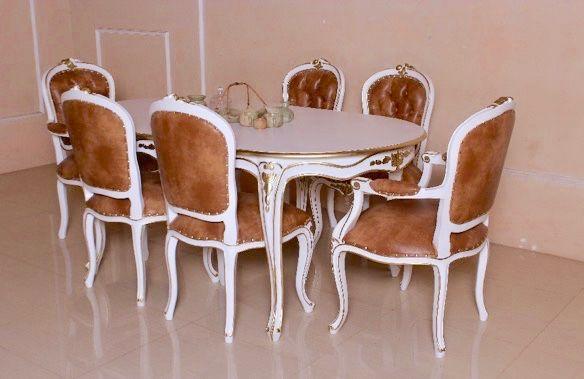 Barock Esszimmer Garnitur Louis XV 1 Tisch Mit 6 Stühlen
