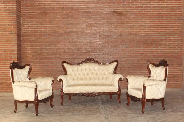 Barock Sofa Sessel Garnitur 3er Set, Repro-Antik-Design, Mahagoni massiv holz braun aufwendige Holzschnitzerei gold creme Ornamente Stoffbezug