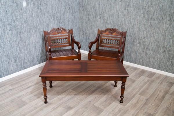 Barock Stuhl Tisch Garten Garnitur Landhaus , Repro-Antik-Design,Mahagoni massiv Holz, aufwendige Holzschnitzerei