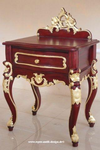 Barock Nachttisch Valbonne, Repro-Antik-Design, Mahagoni Massiv Holz mit gold Dekor ausgefallen exclusive