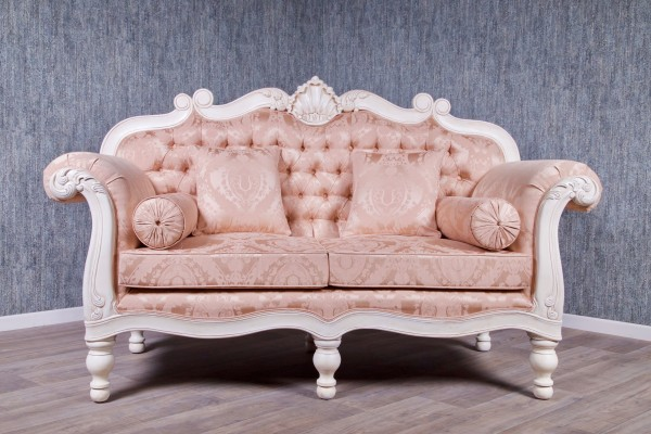 Barock Sofa Repro-Antik-Design, mahagoni massiv holz, lackiert in weiß