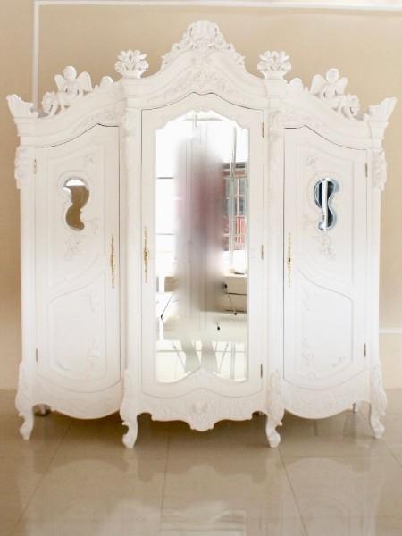 Barock Kleiderschrank Angel Armoire, Mit Spiegel 3 Türig, Antik Weiß