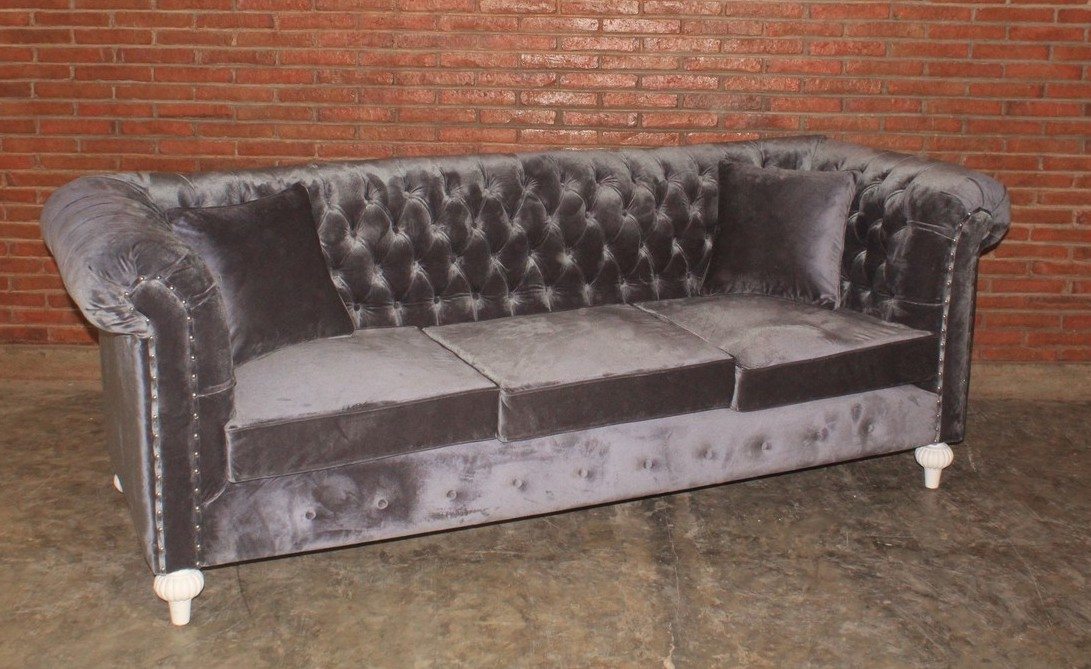 barock chesterfield sofa 3 sitzer empire grau sofas. Black Bedroom Furniture Sets. Home Design Ideas