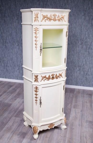 Barock Badezimmer Hochschrank Princess Glasplatte, Repro-Antik-Design Mahagoni massiv Holz mit Goldgriffen Gold Dekor ausgefallen exclusive