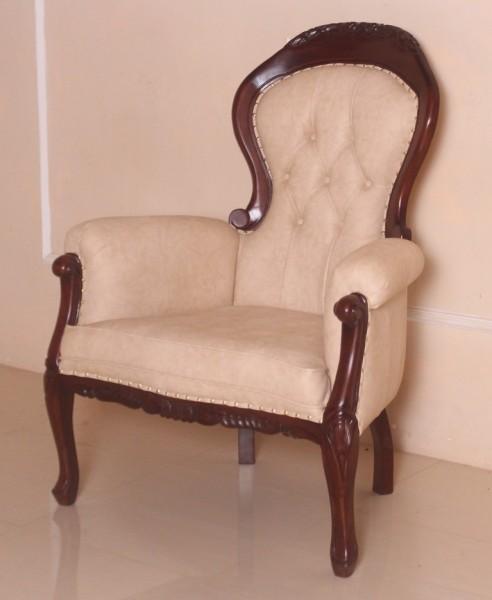 Barock Sessel Polstermöbel, Repro-Antik-Design, Mahagoni massiv Holz, Goldnieten,Stoffbezug creme braun, aufwendige Holzschnitzerei