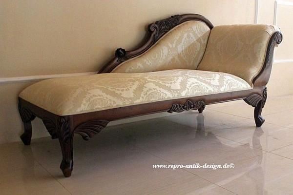 Barock Sofa Recamiere, Repro-Antik-Design, Mahagoni massiv Holz aufwendige Holzschnitzerei braun mit Stoffbezug Ornamenten