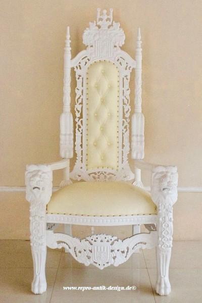 Barock Stuhl Königsstuhl Thronstuhl Repro-Antik-Design, Mahagoni massiv holz lackiert weiß , aufwendige Holzschnitzerei Löwe, mit Goldnieten